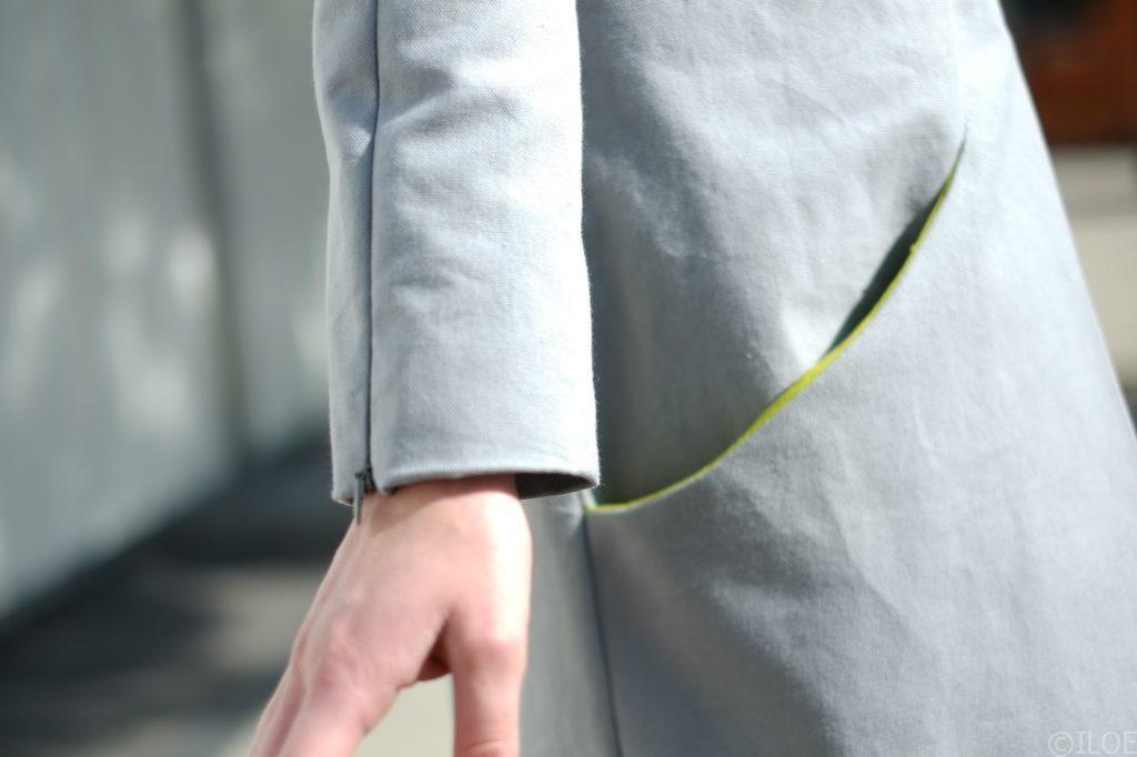 Manteau à ouvertures manche
